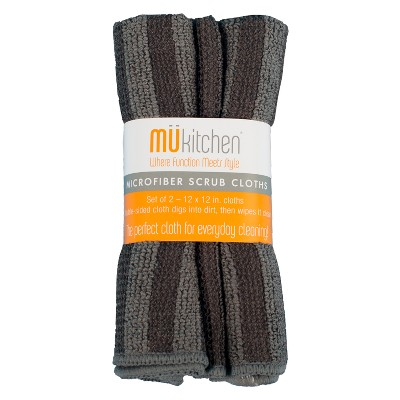 Microfiber Scrub Dish Wash Cloth Black Set of 2 - Mu Kitchen