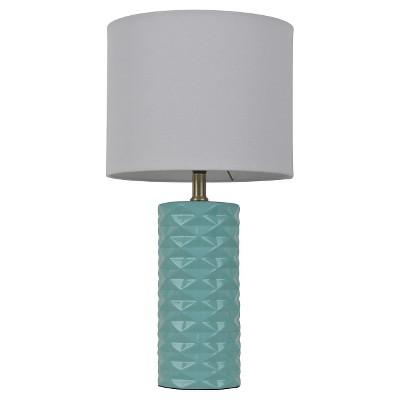 Faceted Ceramic Small Table Lamp Aqua - Room Essentials™