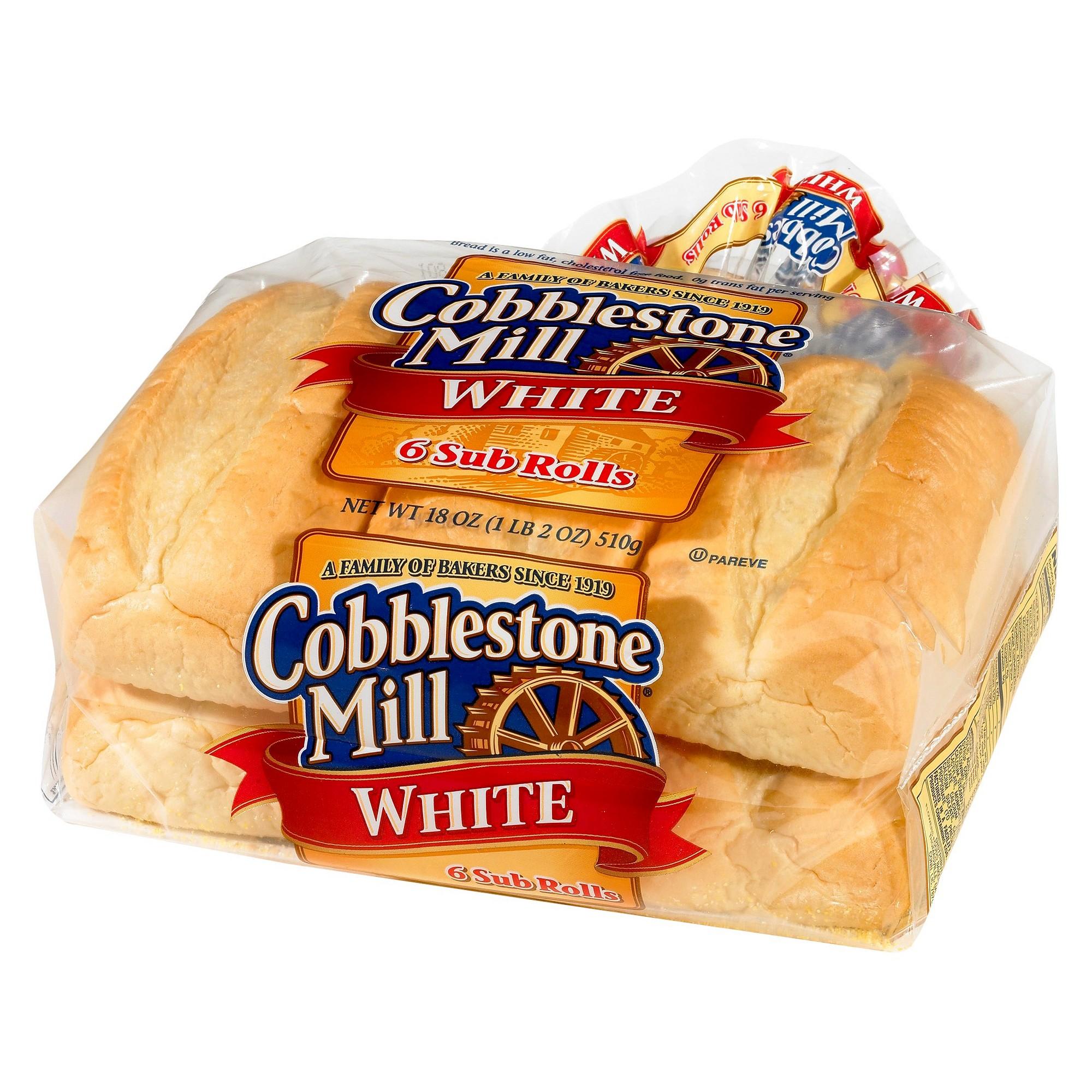 Cobblestone Mill White Sub Rolls 6ct