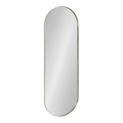 """16"""" x 48"""" Rollo Capsule Framed Decorative Wall Mirror Silver - Kate & Laurel All Things Decor"""