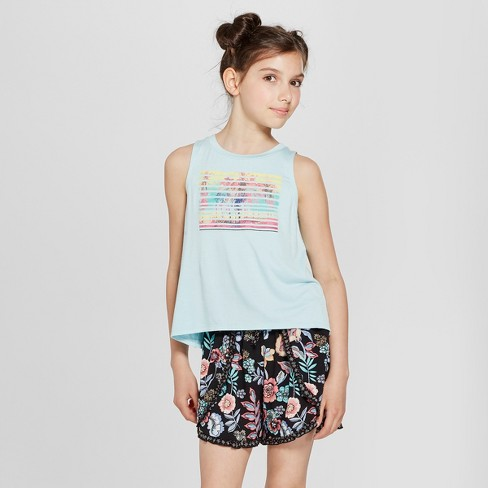 Girls' Graphic Tank Top - art class™ Blue - image 1 of 4