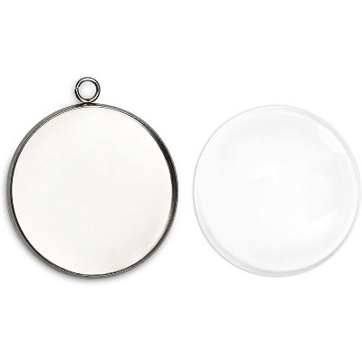 """100 Pieces Silver Pendant Trays with Resin Domes, 1.3""""x1"""" Jewelry Making Kit for Cameo Jewelry"""