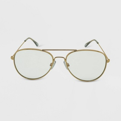 Women's Metal Aviator Blue Light Filtering Glasses - Wild Fable™ Gold