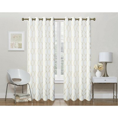 Regal Home 2 Pack: Geo Trellis Sheer Embroidered Grommet Curtains
