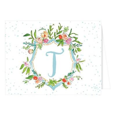 Folded Notes - Vintage Floral Crest Monogram - T