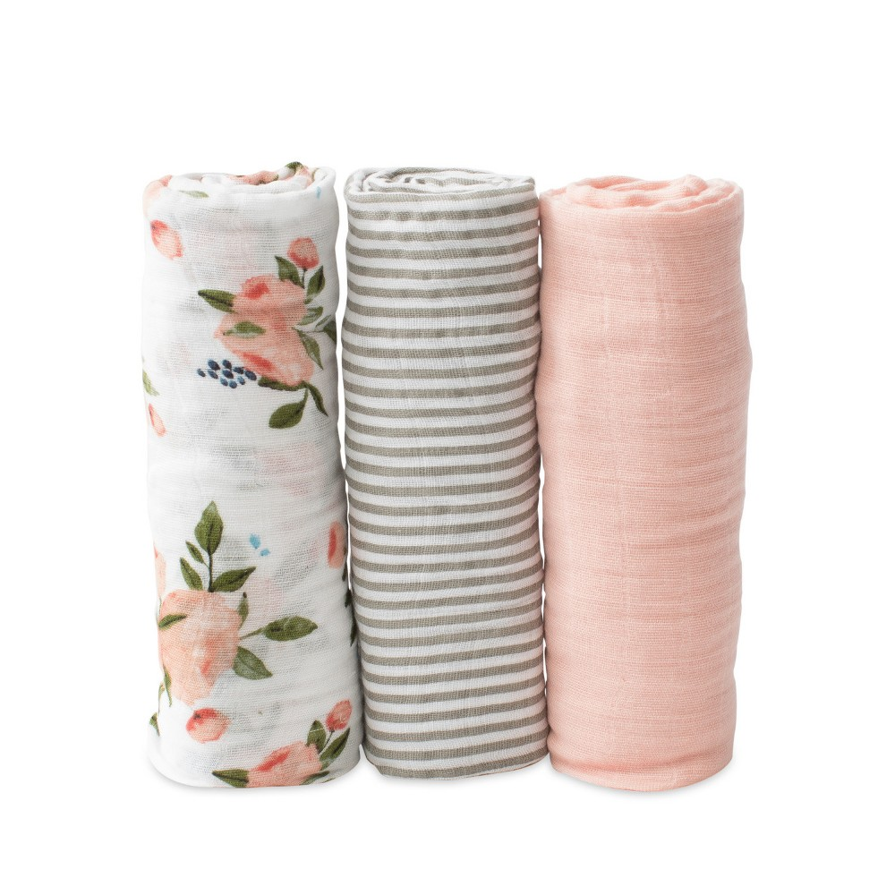 Little Unicorn Cotton Muslin Swaddle Blankets Watercolor Roses
