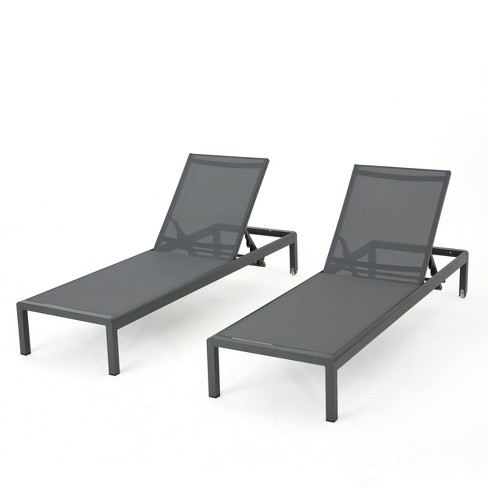 Cape Coral Set of 2 Aluminum Chaise Lounge - Gray/Dark Gray - Christopher Knight Home - image 1 of 4