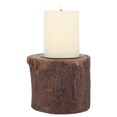 Wood Bark Stump Pillar Candle Holder - CKK Home Décor®