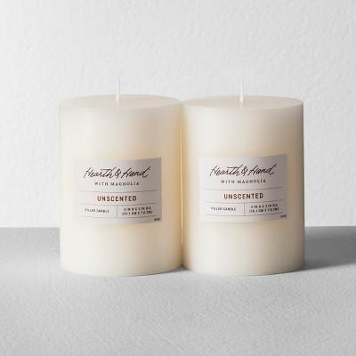 2pk 4  x 3  Satin Pillar Candle Cream - Hearth & Hand™ with Magnolia