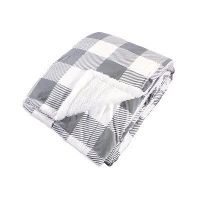 Hudson Home Collection Home Mink Blanket with Sherpa Back, Gray Plaid Sherpa, 90X90 In. (Full Queen)
