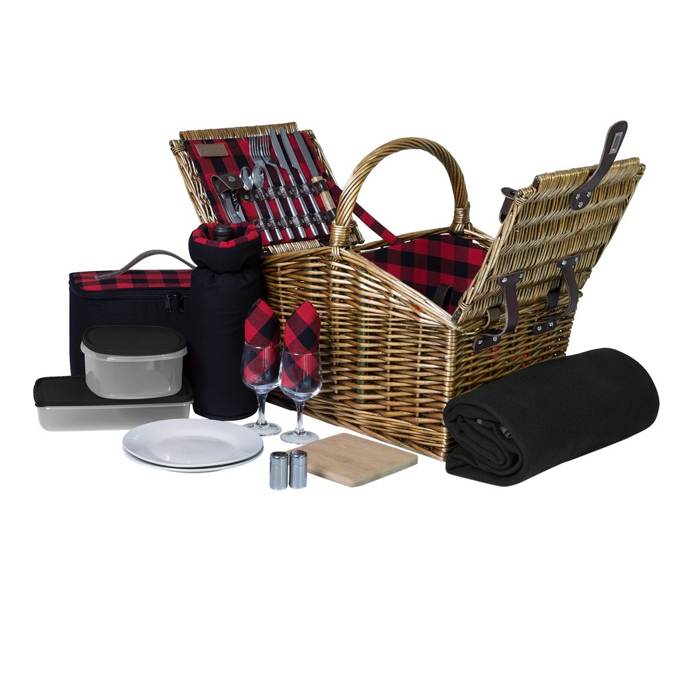 Image of Picnic Time 13pc Somerset Picnic Basket, Brown