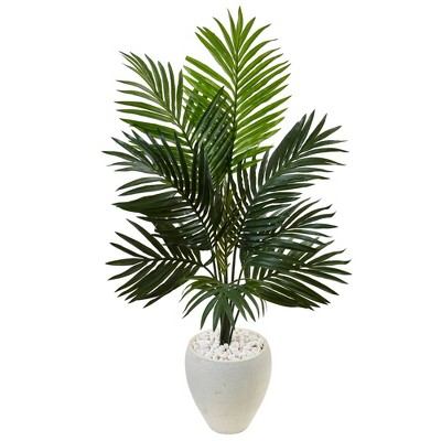 4.5ft Artificial Kentia Palm Tree In White Oval Planter - Nearly Natural