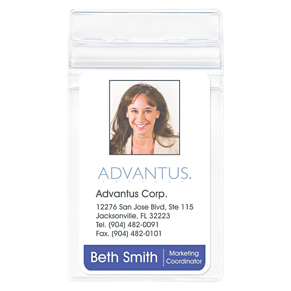Image of Advantus Resealable ID Badge Holder, Vertical, 2 5/8w x 3 3/4h, Clear, 50/Pack