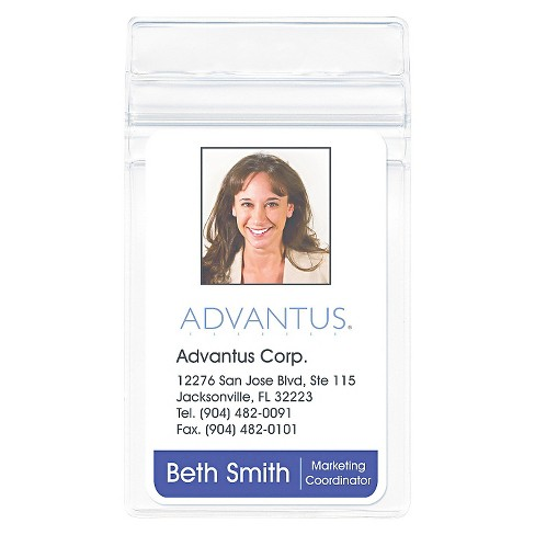 Advantus Resealable ID Badge Holder, Vertical, 2 5/8w x 3 3/4h, Clear, 50/Pack - image 1 of 1