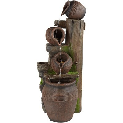 """John Timberland Rustic Outdoor Floor Water Fountain with Light LED 39 1/4"""" High Four Pot Cascading for Yard Garden Patio Deck Home"""