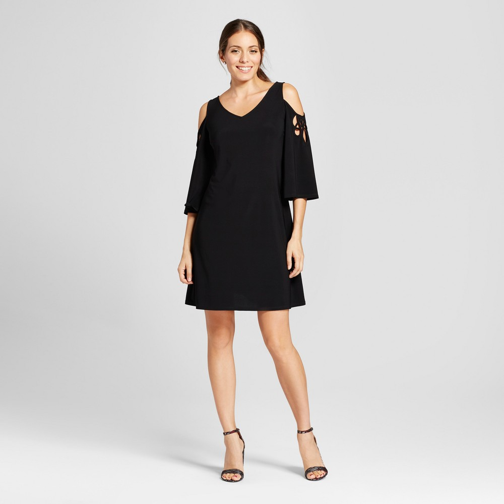 Women's Lattice Sleeve Cold Shoulder Knit Shift Dress - Chiasso - Black S