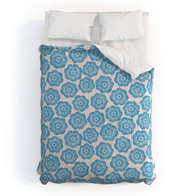 Schatzi Brown Lucy Floral Comforter Set Turquoise - Deny Designs
