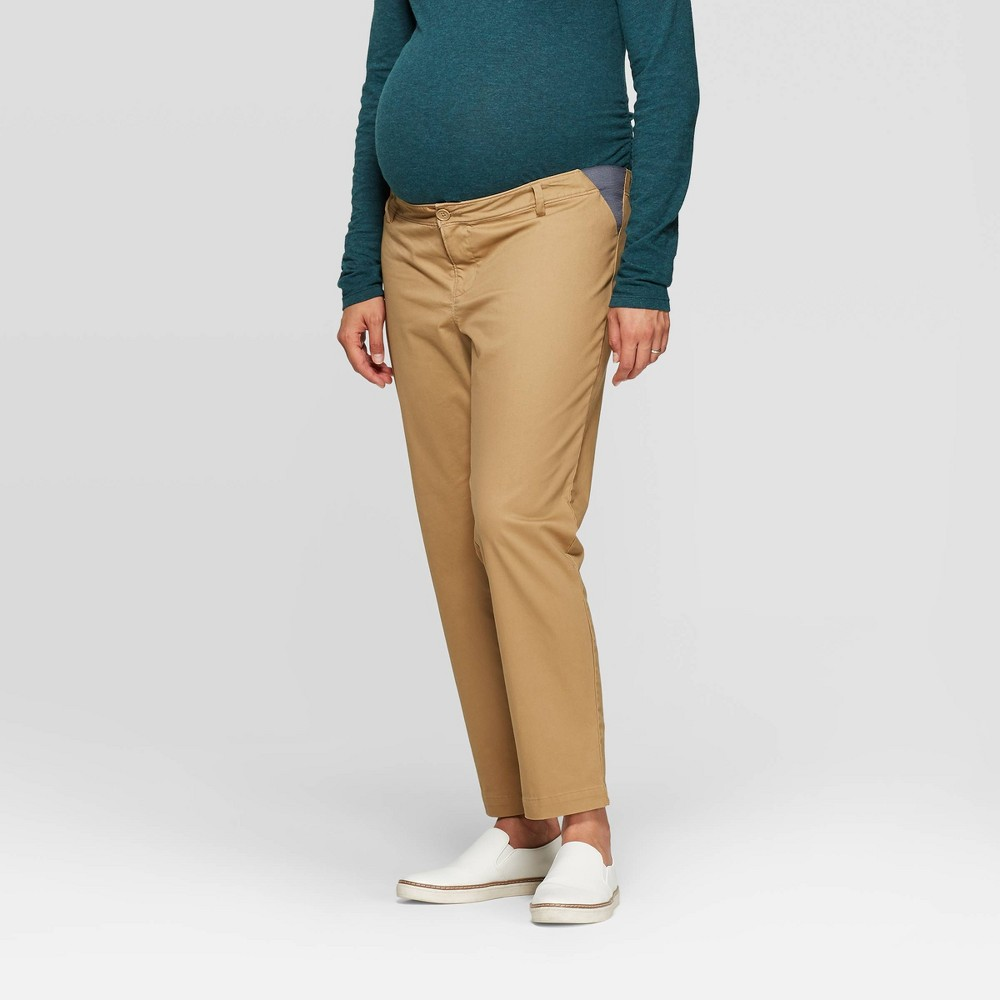 Maternity Mid Rise Side Panel Slim Straight Chino Pants Isabel Maternity By Ingrid 38 Isabel 8482 Brown 4