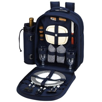 Picnic at Ascot - Deluxe Equipped 2 Person Picnic Backpack with Cooler & Insulated Wine Holder