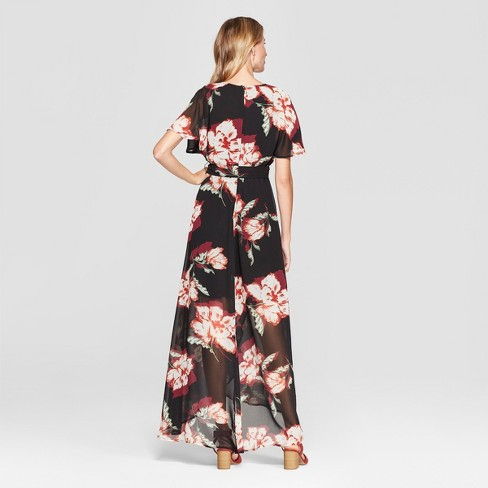 e517b4dc1e Women s Floral Print Maxi Dress - Lux II - Black 16   Target