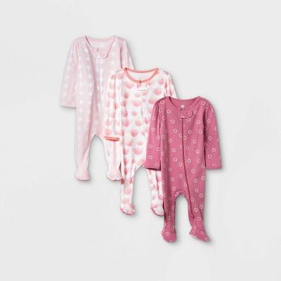Baby Girls' Tie-Dye Sleep N' Play - Cloud Island™ Pink Coral 3-6M