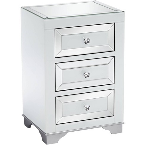 Studio 55d Addison White Mirrored 3, Target Mirror Table With Drawer