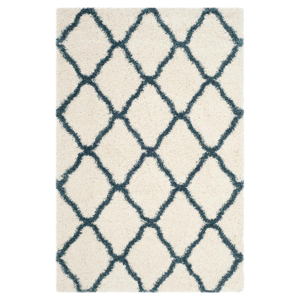 Ivory/Slate Blue Geometric Shag/Flokati Loomed Area Rug - (4'X6') - Safavieh