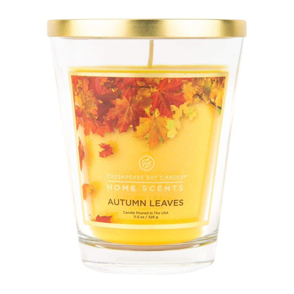 Image of 11.5oz Glass Jar Candle Autumn Leaves - Home Scents by Chesapeake Bay Candle, Yellow