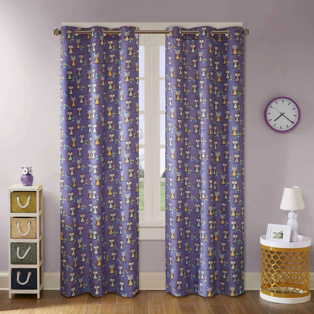 Esther Owl Printed Grommet Top Curtain Panel Pair Purple (42x63)