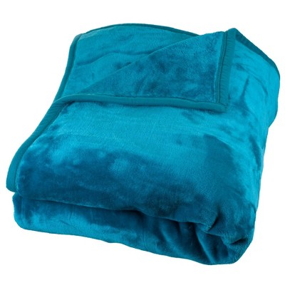 Solid Soft Heavy and Thick Plush Mink Throw Blanket Blue - Trademark Global