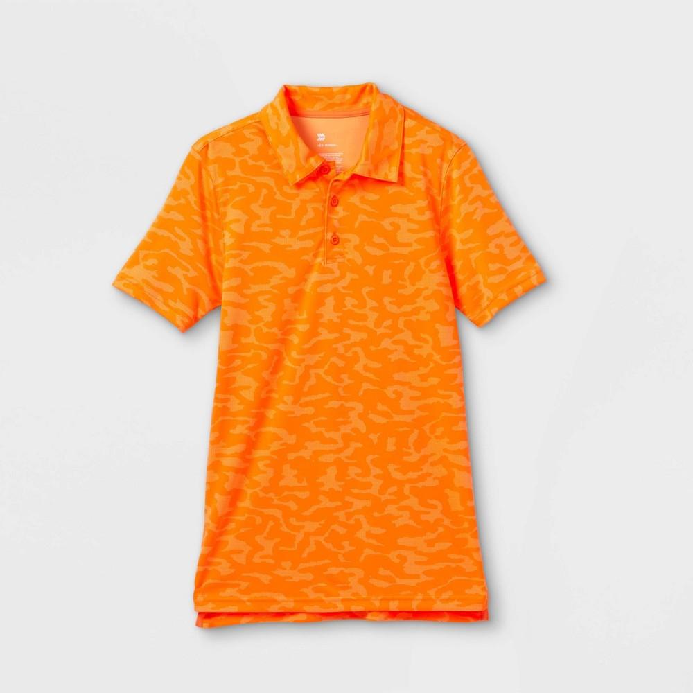 Boys 39 Printed Golf Polo Shirt All In Motion 8482 Orange L