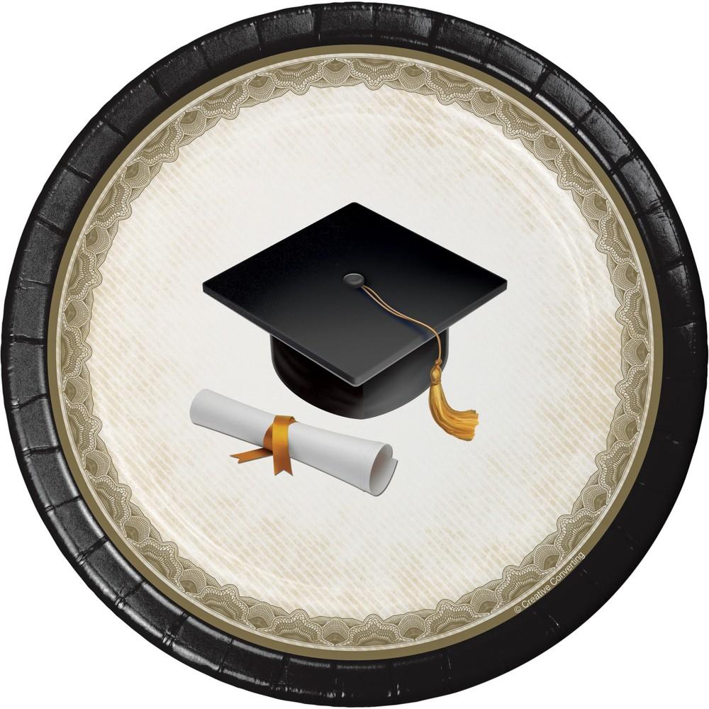 Graduation Cap and Gown 7 Dessert Plates - 8ct