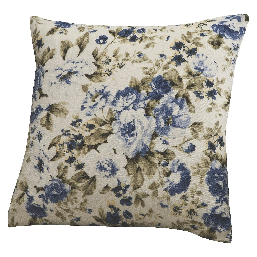 Floral Jersey Throw Pillow Slipcover Blue Madison Industries