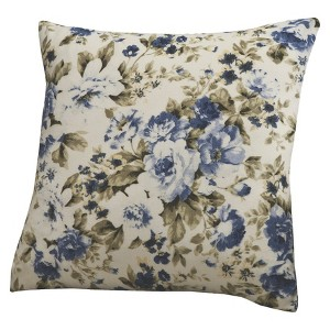 Floral Blue Jersey Throw Pillow Slipcover
