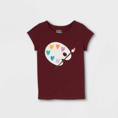 Toddler Girls' Adaptive Artist Hearts Short Sleeve Graphic T-Shirt - Cat & Jack™ Burgundy