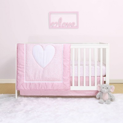 The Peanutshell Belle Hearts 4pc Crib Bedding Set