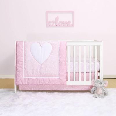 The Peanutshell Belle Hearts 4pc Crib Bedding Set