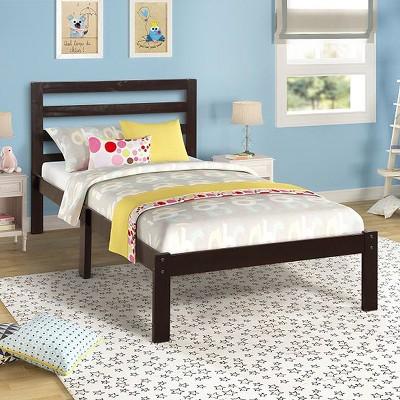 Platform Bed Wood Frame - with Solid Wood Slats/Headboard Design