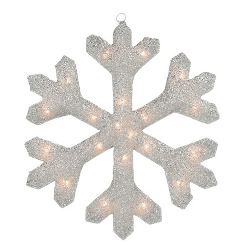 "Northlight 20"" Lighted Silver Tinsel Christmas Snowflake Window Decoration - image 1 of 2"