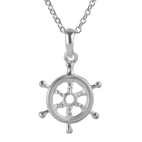 "Women's Journee Collection Helm Pendant Necklace in Sterling Silver - Silver (18"") - image 1 of 2"