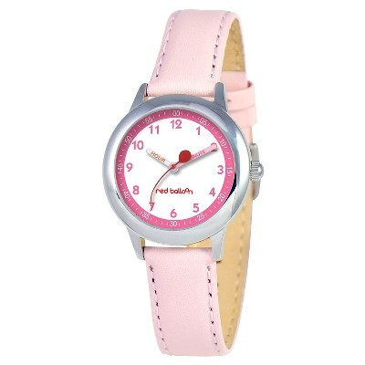 Girls' Red Balloon Stainless Steel Time Teacher Watch - Pink