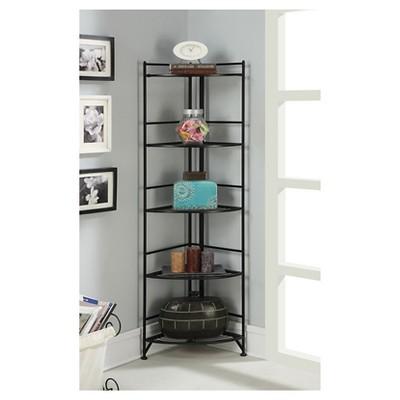 "58"" 5 Tier Folding Metal Corner Shelf Black - Breighton Home : Target"