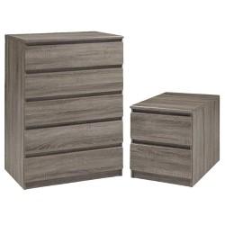 Wood Scottsdale 2 Piece Modern Chest and Nightstand Set in Gray-Tvilum