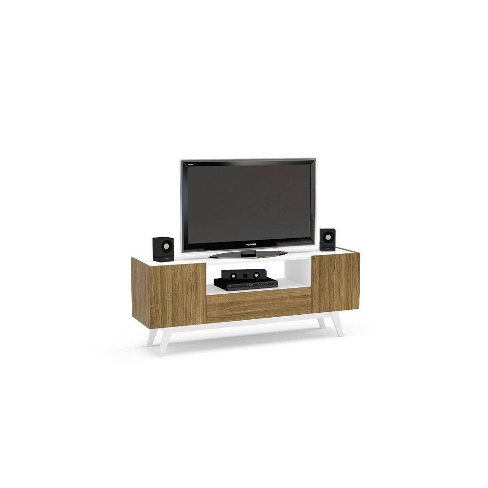 "Image of ""60"""" Brooklyn Tv Stand White and Walnut - Chique"""