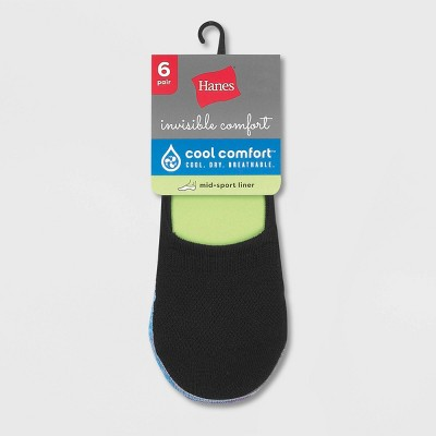 Hanes Women's Extended Size Invisible Comfort 6pk Sneaker Cut Liner Socks - Black 8-12