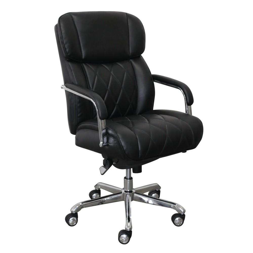 Sutherland Quilted Leather Office Chair with Padded Arms Black - La-Z-Boy