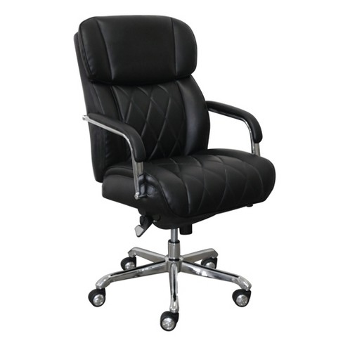 Sutherland Quilted Leather Office Chair With Padded Arms La Z Boy