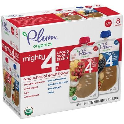 Plum Organics 8pk Mighty 4 Variety Flavor Baby Food Pouches - 32oz