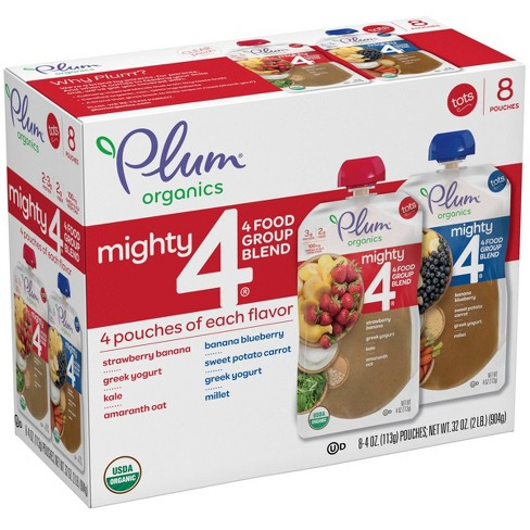 Plum Organics 8pk Mighty 4 Variety Flavor Baby Food Pouches - 32oz - image 1 of 4