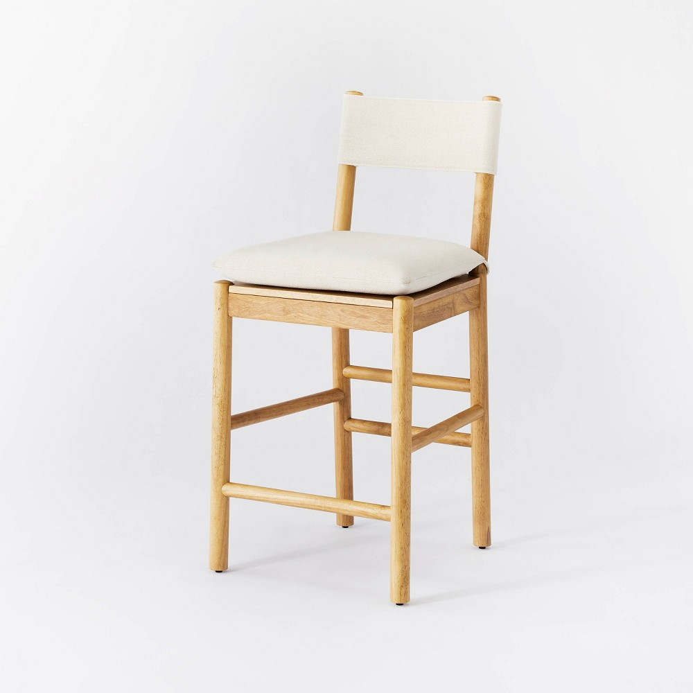 Emery Wood Counter Height Barstool With Upholstered Seat And Sling Back Natural Threshold 8482 Designed With Studio Mcgee